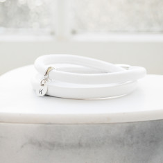Personalised liquorice leather wrap bracelet in white and silver