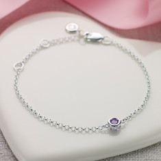 February birthstone bracelet in amethyst