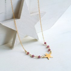 Personalised Gold Little Star and Pink Tourmaline Necklace