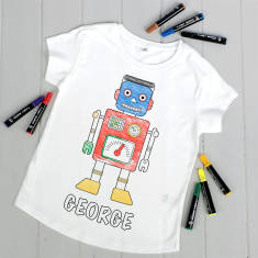Personalised 'Colour Your Own' Retro Robot T Shirt Kit