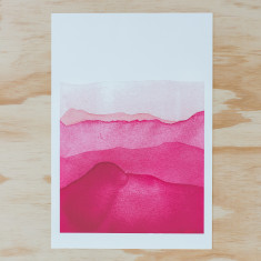 Pink mountains watercolour A3 print