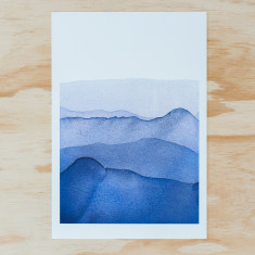 Blue Mountains watercolour A3 print