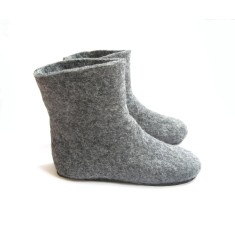 Women's wool slipper boots in grey