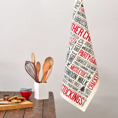 Festive fun tea towel