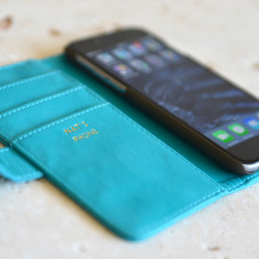 Luxury Turquoise iPhone Case Personalised in Gold