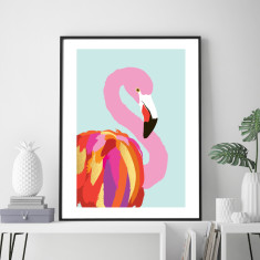 Flamingo mint art print