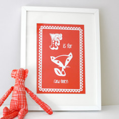 Personalised F is for fox child's print