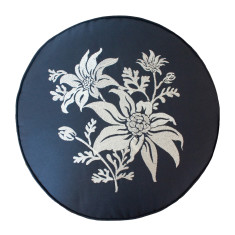 Flannel flower in indigo embroidered cushion