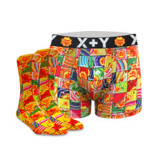 Men's mosaic chupa chups trunk & sock set