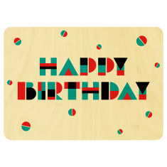 Geometric shapes Happy Birthday wooden card