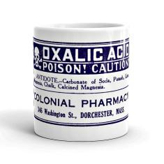 Oxalic acid vintage style poison label mug