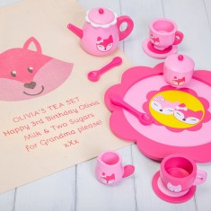 Personalised Pink Fox Tea Set