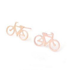 Rose gold bicycle earrings