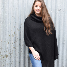 Lightweight Turtleneck Merino & Lurex Poncho