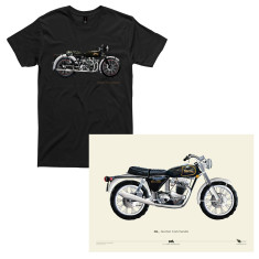 Vincent motorcycle men's t-shirt + Norton Commando Hand Painted A2 poster