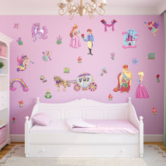 Small fairytale princess wall stickers pack