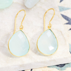 Sita Earrings With Aqua Chalcedony