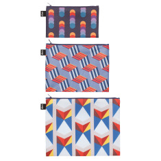 LOQI zip pocket set of 3 geometric collection