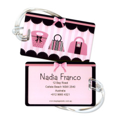Personalised luggage tags in handbag diva design (set of 5)