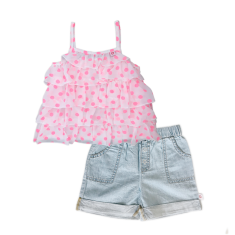 Girls' ruffle top and chambray shorts