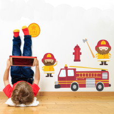 Fire engine and firemen fabric wall stickers
