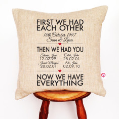 First we had each other personalised linen cushion cover