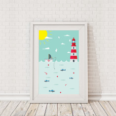 Childrens fisherman scene framed print