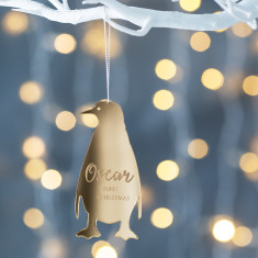 Personalised Mirrored Baby Penguin Decoration