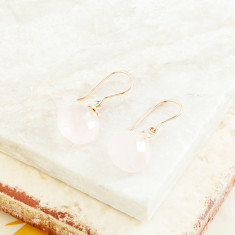 Hera Hooded Drop Earrings With Rose Quartz