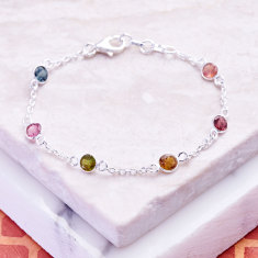 Sweetie Silver Station Bracelet With Multi Tourmaline