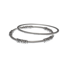 Modern tribal silver bangles (set of 2)