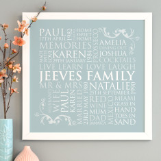 Personalised Square Family Word Art Print