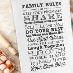 Family Rules Tea Towel