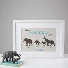 Personalised Elephant Family Herd Print