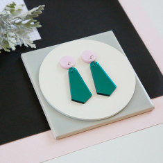 Jazzy drop earrings - teal mirror and pearlescent pink
