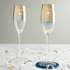 Personalised Special Age Metallic Champagne Flute For Her