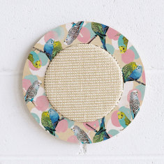 Wall hanging cat scratcher with bird print