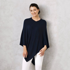 Cashmere Wool Poncho in Navy