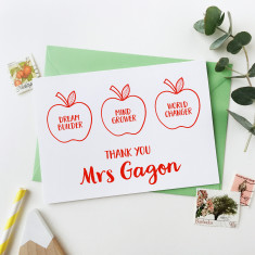 Personalised Apples For The Teacher Card