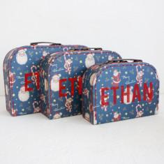 Personalised Christmas Santa Suitcase Storage Box Trio