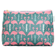 Flamingo flourish toiletry bag in mint