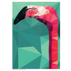 Geometric flamingo head print
