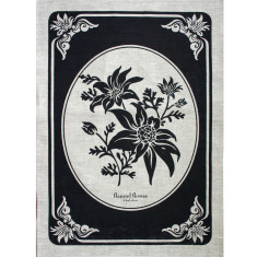 Flannel flower in ink tea towel