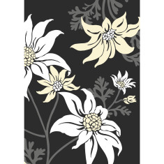 Flannel flower art print in black