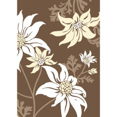 Flannel flower art print in chocolate