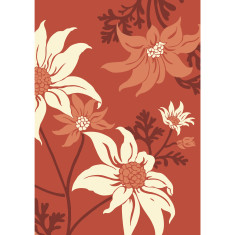 Flannel flower art print in desert red