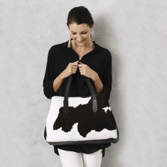 Madagascar Handbag in Black and White Cowhide