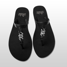 Silicone sandals in black & silver