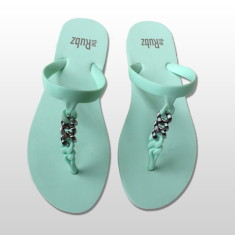 Silicone sandals in mint & silver