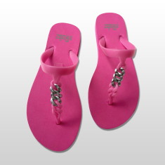 Silicone sandals in neon pink and silver